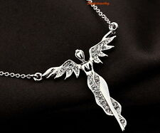 18k White Gold Plated Clear Swarovski Crystal Women's Flying Angle Necklace N75