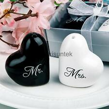 Heart Ceramic Mr. and Mrs. Salt Pepper Shakers Canister Set Couple Gift