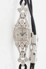 Vintage 1950s $3000 HELBROS 14k White Gold 1ct Diamond Ladies Watch & WARRANTY