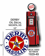 "12"" 1929-49 DERBY WHITE GASOLINE VINYL DECAL OIL CAN / GAS PUMP / LUBSTER"
