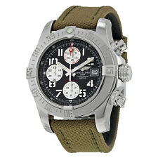 Breitling Avenger II Automatic Chronograph Grey Dial Military Strap Mens