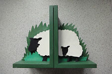 Delightful wooden sheep bookends
