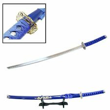 "40"" Japanese Samurai Sword BLUE Dragon Carbon Steel Ninja Katana w/ Stand"