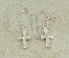 CUTE STERLING SILVER WHITE OPAL CROSS DANGLING EARRINGS  style# e0777