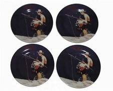 4 Gibson Coca Cola Norman Rockwell Boy & Dog Fishing Salad Dessert Plates NWOT