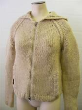 womens WOOL ABERCROMBIE FITCH THICK KNIT ZIP UP HOODIE JACKET MEDIUM CLEAN