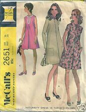 Maternity A-Line Dress Front Pleat McCall's Sewing Pattern 2651 Size 16 VTG 70's