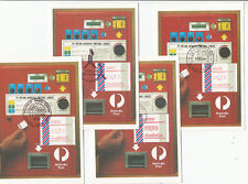 Stamps Australia barred edge frama set of 9 postcodes on set of 9 maximum cards