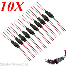10 Kits 2 Pin Way Sealed Waterproof Electrical Wire Connector Plug With Wire AWG