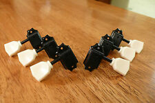 GUITAR TUNERS TUNING PEGS 3x3 VINTAGE STYLE BLACK WITH KEYSTONE HANDLES