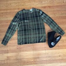 Carlisle Green Plaid 100% Silk Top Button Sleeve Back Detail Size 4 Holiday