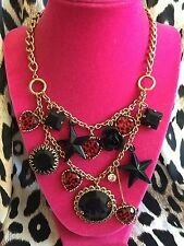 Betsey Johnson Vintage Red Leopard Black Crystal Star Heart Rose Necklace RARE