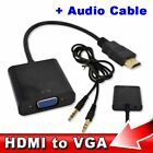HDMI to VGA + 3.5mm Jack Audio Cable Video Converter Adapter PC Laptop Xbox UK