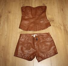 Brown Look Leather TRADIVARIUS Zip Back Top Size M Zip Shorts Size 6 / 34 Suit