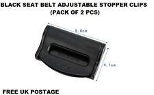 BLACK BMW SEAT ADJUSTABLE SAFETY BELT STOPPER CLIP CAR TRAVEL 2PCS