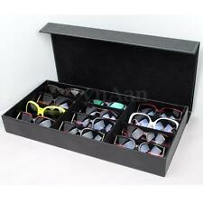 12 Slot Grid PU Leather Sunglasses Glasses Display Storage Box Case Tray Holder