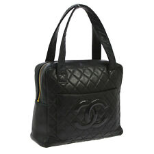 Authentic CHANEL Quilted CC Hand Bag Black Leather Patent Leather Vintage S05499