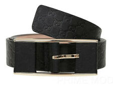 NEW GUCCI LADIES BLACK LEATHER MICROGUCCISSIMA GG LOGO BUCKLE BELT 80/32