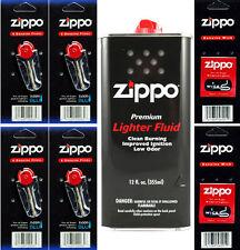 12 Ounce Fuel Fluid & 4 Packs Flint (24 Flint) & 2 Wicks for Zippo Lighters