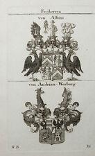 1819 2 Wappen von Albini von Andrian-Werburg Kupferstich Tyroff