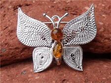 Silverandsoul FARFALLA SPILLA / PIN Baltic Amber 925 Argento Gioielli artigianali