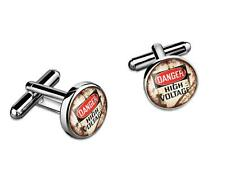 Industrial Danger High Voltage Sign Sterling Silver Glass Cufflink Set w/ Box