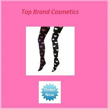 Goldenlegs Opaque Black Tights with Pink Heart Pattern One Size Regular NEW