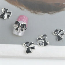 10x 3D Silver Glitter black Bow Tie Rhinestones Nail Art Bowknot DIY Decorations