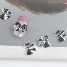 10x 3D Silver Glitter black Bow Tie Rhinestones Nail Art Bowknot DIY Decorations