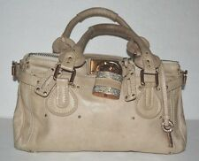 CHLOE AUTH. PADDINGTON SWAROVSKI CRYSTAL LOCK/KEY BEIGE LEATHER SATCHEL HANDBAG
