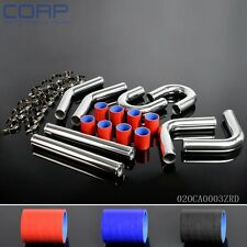 "Turbo Intercooler Pipe 2.5"" Chome Aluminum Piping+T-Clamps+Silicone Hoses"