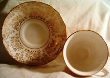 Queen Anne 24K Gold Flowers w-Leaves China Cup and Saucer