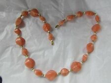 VINTAGE SALMON COLOR IRREGULAR SHAPED STONE AND BEAD  NECKLACE