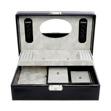 Venice Jewellery Box. 2 Tier Black With Travllers Box & Lock. Genuine Leather