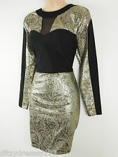 BNWT Definitions Gold and Black Jacquard Pencil Dress Size 18 Stretch RRP £57
