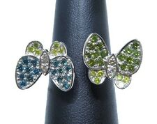 Ladies 18k White Gold 1.50ct White/Yellow/Blue And Green Diamond Butterfly Ring