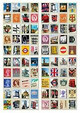 4 Sheets 80pcs Deco Craft Stamp Stickers Diary Sticker Scrapbook Gift (England)