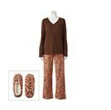 GOODNIGHT KISS Women's 3-Piece Pajama Set Top,Pants,Slippers Pink/Brown Animal M