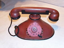 Vintage Child's Toy Telephone Maroon Metal Tin Rotary Dial Style Phone w Cord