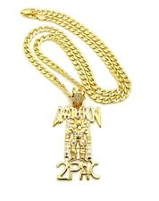 """ICED OUT DEATHROW 2PAC PENDANT WITH 30"""" CUBAN CHAIN"""