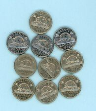 """Canada 5-cent coins """"nickels"""" - starter set 10 coins various dates 1949 to 1961"""