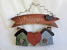 "WELCOME WALL HANGING Sign 10"" Birdhouses Heart Black Bird Wood Wire"