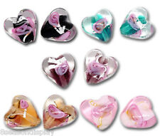 50PCs Mixed Lampwork Heart Beads Glass Color-Lined Foil