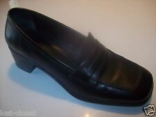 "Cole Haan City Blue Black Leather Loafers 2"" Heels Pumps Shoes Size 7 @ cLOSeT"