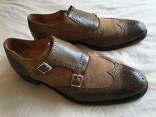 Saks Fifth Avenue Italian Double Monk Strap Monkstrap Shoes Leather Suede 11.5 D