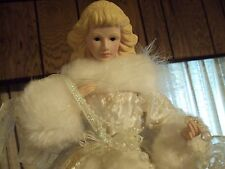 Tree Top Angel Christmas 16 inch with Porcelain head / hands White Fur and lace