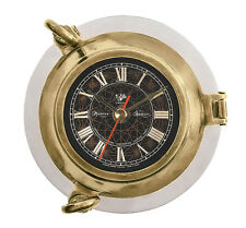 "Ship's Porthole Clock 6"" Bronze Finish Solid Aluminum Nautical Wall Decor"