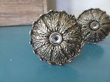 Antique Silver Pewter Metal FLOWER with Rhinestone Center Knob ~ Drawer Pull NEW