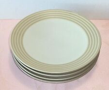 Denby INTRO STRIPES SAND 4 Salad Plates Tan Brown Bands NICE