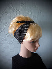 Black and white spotted hair scarf, retro 50's style headband, fifties scarf